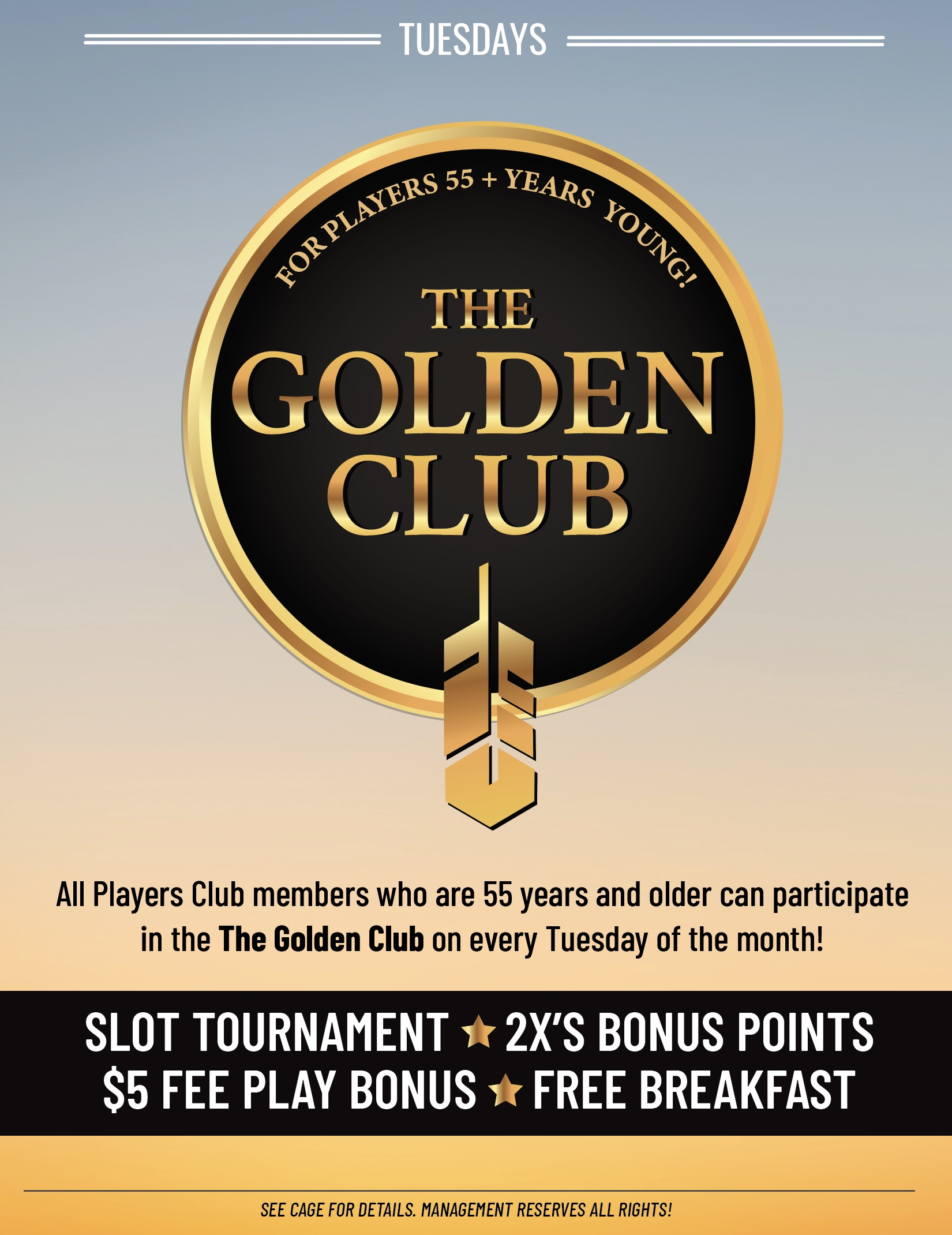 golden club - 55 years and older