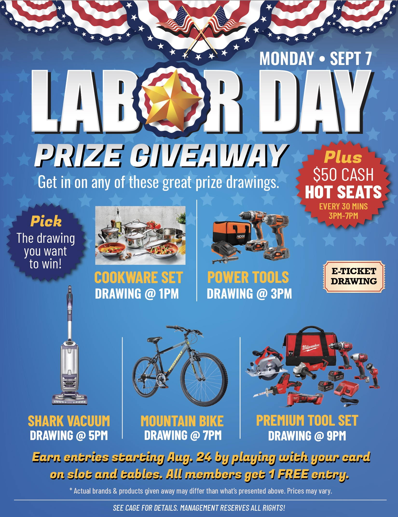 LABOR DAY PRIZE GIVEAWAY PAIUTE PALACE